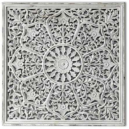 Decorlives Handcarving on Wood Antique White