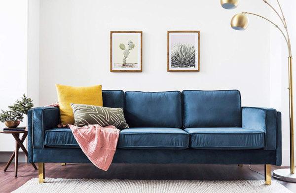 Eldoe Finch Blue Velvet Sofa