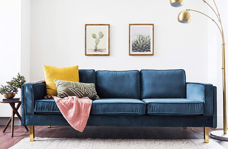 Eldoe Finch Blue Velvet Sofa
