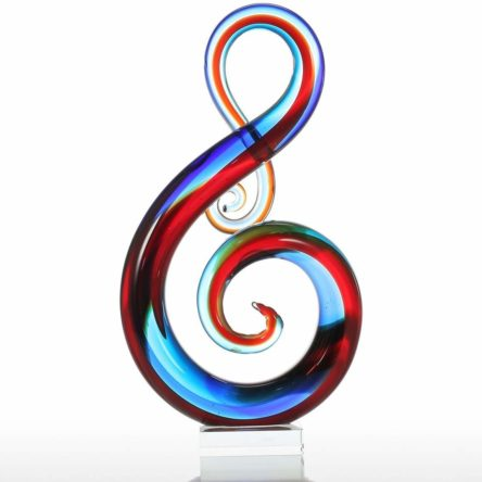 Tooarts Music Note Glass Sculpture