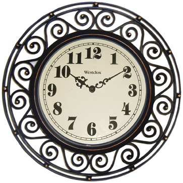 Westclox Round Filigree Rubbed Clock