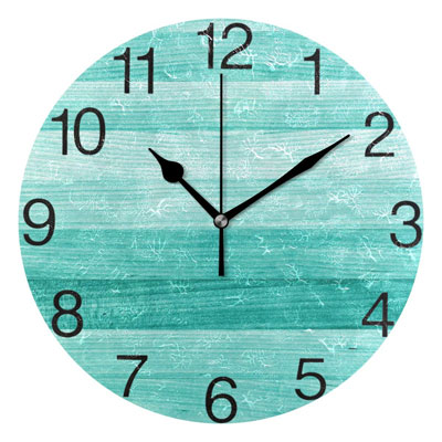 senya Teal Turquoise Green Wood Round Wall Clock