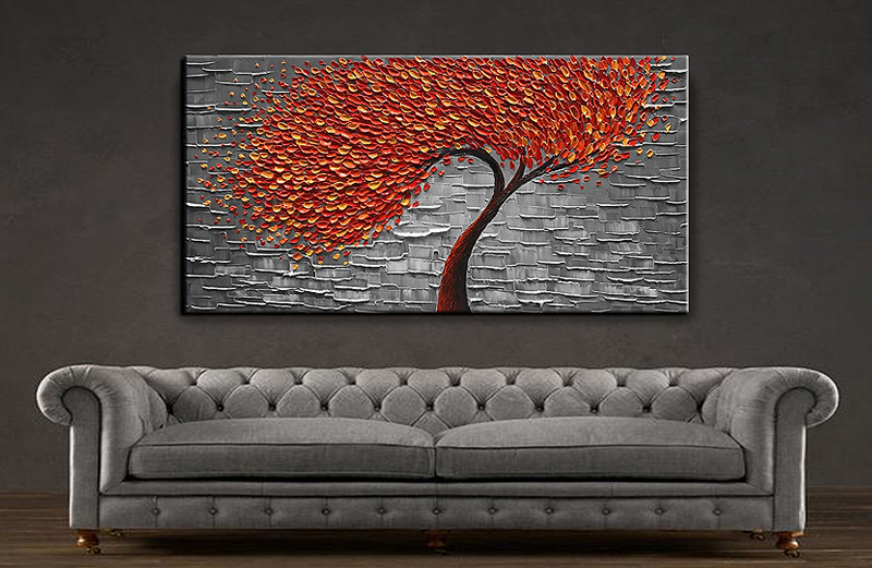 YaSheng Art - Modern Abstract Painting Red Tree 3D Oil